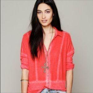 FREE PEOPLE Orange Zahara Gauze Button Down Shirt